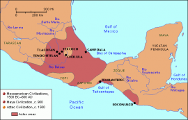 Map of Mesoamerica, Aztecs, 14th-15th centuries
