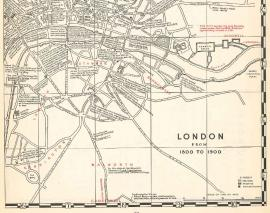 "Detail of ""London: from 1800 to 1900,"" from the Mapbook of English Literature."