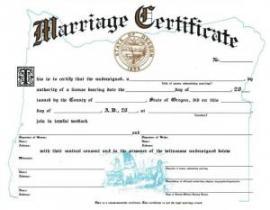 a blank Oregon marraige certificate