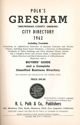 Title page of Polk's Gresham city directory, 1962