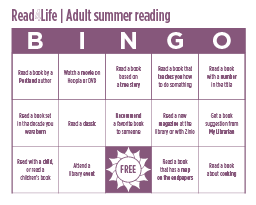 Part of bingo board for adult summer reading 2017