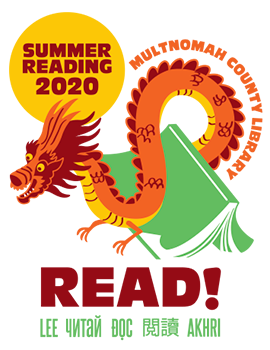 Dragon and book logo for Summer Reading 2020, link to online game