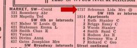 1934 city directory listings by address, SW Market St.