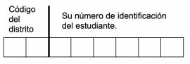 Código del distrito. Su número de identificación del estudiante.