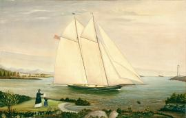 19th century painting of an American schooner