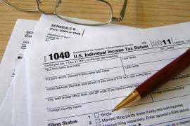 IRS 1040 form with pen