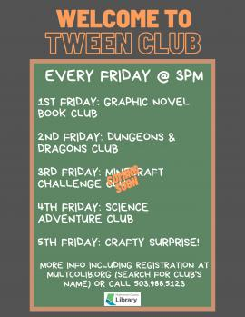 Image of the Tween Club Flyer