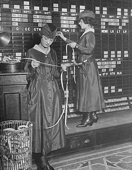 Two women at the Waldorf-Astoria Hotel operating tickers and stock exchange boards, December 11, 1918.