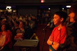 Gene Luen Yang audience at Alberta Rose Theater, photo by Bitna Chung
