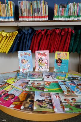 Books for beginners are scattered on a table in the foreground. Yellow, blue, red and green bags hang in the background under a shelf. More books are stored on that shelf.