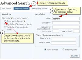 Search for biography in Oxford Music Online