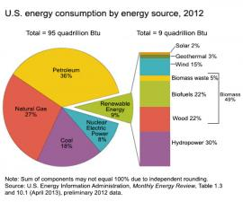 Energy consumption by source, 2012.