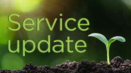 Sprouting seedling, text of service update
