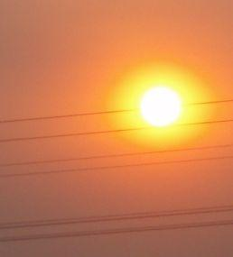 Photograph of the sun, with power lines in the foreground.
