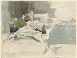Leopold von Kalckreuth - The Artist's Wife Reading in Bed