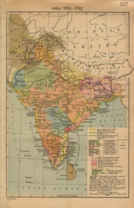 Map of India 1700-1792