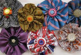 Necktie Flower Brooches