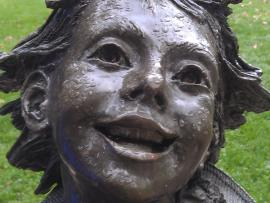 Ramona sculpture - photo by Beverly Stafford Multnomah County Library