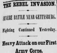 Report on Battle of Gettysburg. New-York Daily Tribune, July 3, 1863.