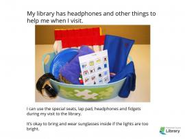 social story page showing the Sensory Accommodation Kit available at each library