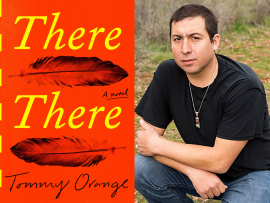 Cover of Everybody Reads 2020 book, There There, and photo of its author Tommy Orange