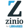 Logo for and link to Zinio for Libraries